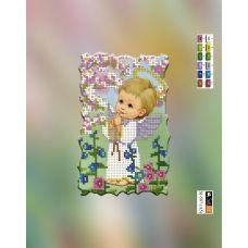 SI-587(А5) ХОЛСТ. Ангелочек мальчик. Схема для вышивки бисером Свит Арт
