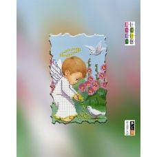 SI-588(А5) ХОЛСТ. Ангелочек и голубь. Схема для вышивки бисером Свит Арт