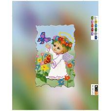SI-589(А5) ХОЛСТ. Ангелочек девочка и бабочка. Схема для вышивки бисером Свит Арт