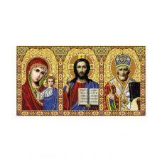 А2-И-024 Иконостас Иисус, Казанская, Николай. Схема для вышивки бисером ТМ Acorns