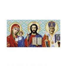 А2-И-499 Иконостас Казанская - Иисус - Николай (без рамки). Схема для вышивки бисером ТМ Acorns