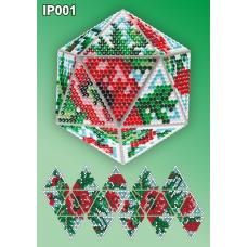 IP-001 Новогодний шар Маки. Набор для выкладки пластиковыми алмазиками ТМ Вдохновение