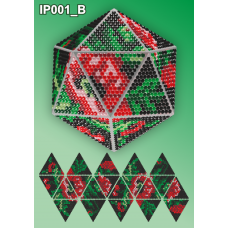 IP-001-В Новогодний шар Маки на черном. Набор для выкладки пластиковыми алмазиками ТМ Вдохновение