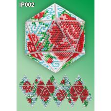 IP-002 Новогодний шар Розы. Набор для выкладки пластиковыми алмазиками ТМ Вдохновение
