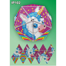 IP-102 Новогодний шар Единорожек. Набор для выкладки пластиковыми алмазиками ТМ Вдохновение