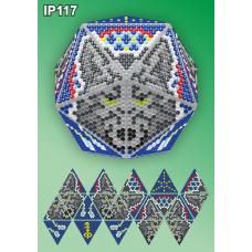 IP-117 Новогодний шар Волк Ловец снов. Набор для выкладки пластиковыми алмазиками ТМ Вдохновение