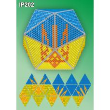 IP-202 Новогодний шар Флаг Украины. Набор для выкладки пластиковыми алмазиками ТМ Вдохновение
