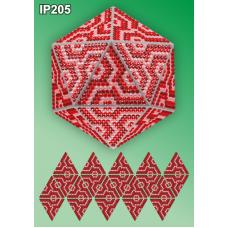 IP-205 Новогодний шар Красная Мозаика. Набор для выкладки пластиковыми алмазиками ТМ Вдохновение