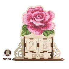 KLD-001 Роза. Заготовка для вышивки по дереву Вечный календарь ТМ WoodStitch