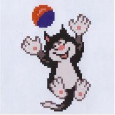 К-114 Кот с мячем. Водорастворимый флизелин для вышивки Confetti