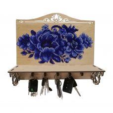 KL-002 Ключница для вышивки бисером Синие цветы Wood Stitch