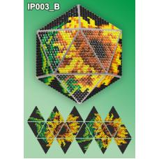 IP-003-В Новогодний шар Подсолнухи на черном. Набор для выкладки пластиковыми алмазиками ТМ Вдохновение