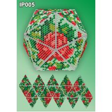 IP-005 Новогодний шар Розовый букет. Набор для выкладки пластиковыми алмазиками ТМ Вдохновение