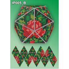 IP-005-В Новогодний шар Розовый букет на черном. Набор для выкладки пластиковыми алмазиками ТМ Вдохновение