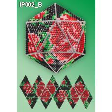 IP-002-В Новогодний шар Розы на черном. Набор для выкладки пластиковыми алмазиками ТМ Вдохновение