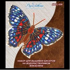 NBFL-028 Набор бабочка Красный Павлин на водорастворимом флизелине ТМ Вдохновение