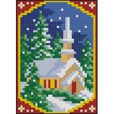 ФПК-6001 Новогодняя миниатюра-церковь. Схема для вышивки бисером Феникс