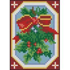 ФПК-6004 Новогодняя миниатюра-омела. Схема для вышивки бисером Феникс