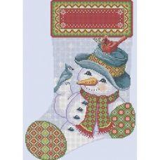 А3-К-477 Рождественский носок Друзья снеговика. Схема для вышивки бисером ТМ Acorns