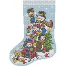 А3-К-952 Рождественский носок Друзья снеговики. Схема для вышивки бисером ТМ Acorns