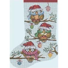 А3-К-478 Рождественский носок Новогодние совы. Схема для вышивки бисером ТМ Acorns