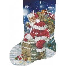А3-К-954 Рождественский носок Санта с подарками. Схема для вышивки бисером ТМ Acorns