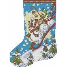 А3-К-953 Рождественский носок Друзья снеговики. Схема для вышивки бисером ТМ Acorns