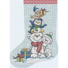 А3-К-479 Рождественский носок Забавные зверята Схема для вышивки бисером ТМ Acorns