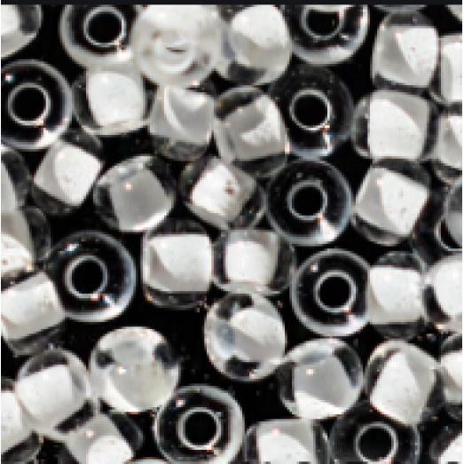 38002 Бисер Preciosa прозрачный с прокрашеной белой серединкой