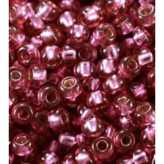 78693 Бисер Preciosa розовый, серебряная линия внутри