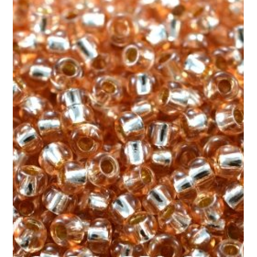 78685 Бисер Preciosa персиковый, серебряная линия внутри