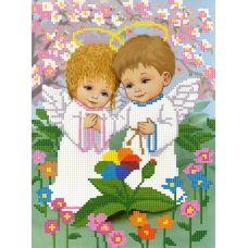 SI-586(А4) Ангелочки в саду. Схема для вышивки бисером СвитАрт