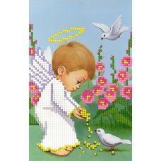 SI-588 Ангелочек кормит голубя. Схема для вышивки бисером СвитАрт