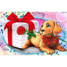SI-764а (А5) Собачка с подарком. Схема для вышивки бисером СвитАрт