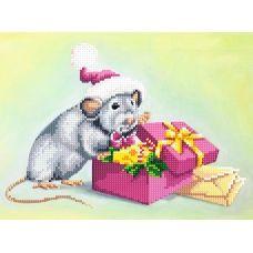 SI-843 (А4) Новогодняя крыса. Схема для вышивки бисером СвитАрт
