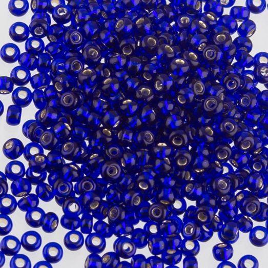 37100м Бисер Preciosa стеклянный тёмно-синий матовый с серебрянным прокрасом