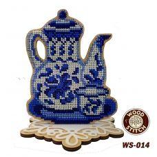 WS-014 Серия Гжель. Чайник с чашкой. Набор для вышивки WoodStitch