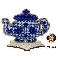 WS-016 Серия Гжель. Чайник. Набор для вышивки WoodStitch
