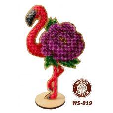 WS-019 Цветочный Фламинго. Набор для вышивки WoodStitch