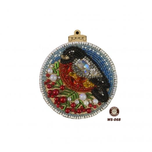 WS-068 Новогодний шар. Набор для вышивки с декоративными элементами. WoodStitch