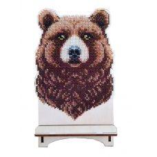 WSR-011 Медведь. Подставка под телефон. ТМ WoodStitch