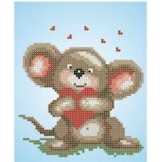 СД-014 Мышка с сердечком. Схема для вышивки бисером. Княгиня Ольга