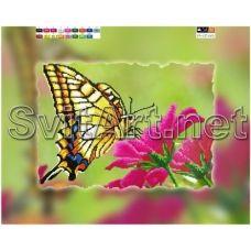 FV-127(А3) ХОЛСТ. Бабочка на цветке. Схема для вышивки бисером. Свит Арт